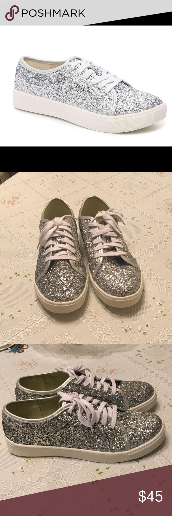 Dirty Laundry Silver Sneakers Brand New Never Worn Other Than