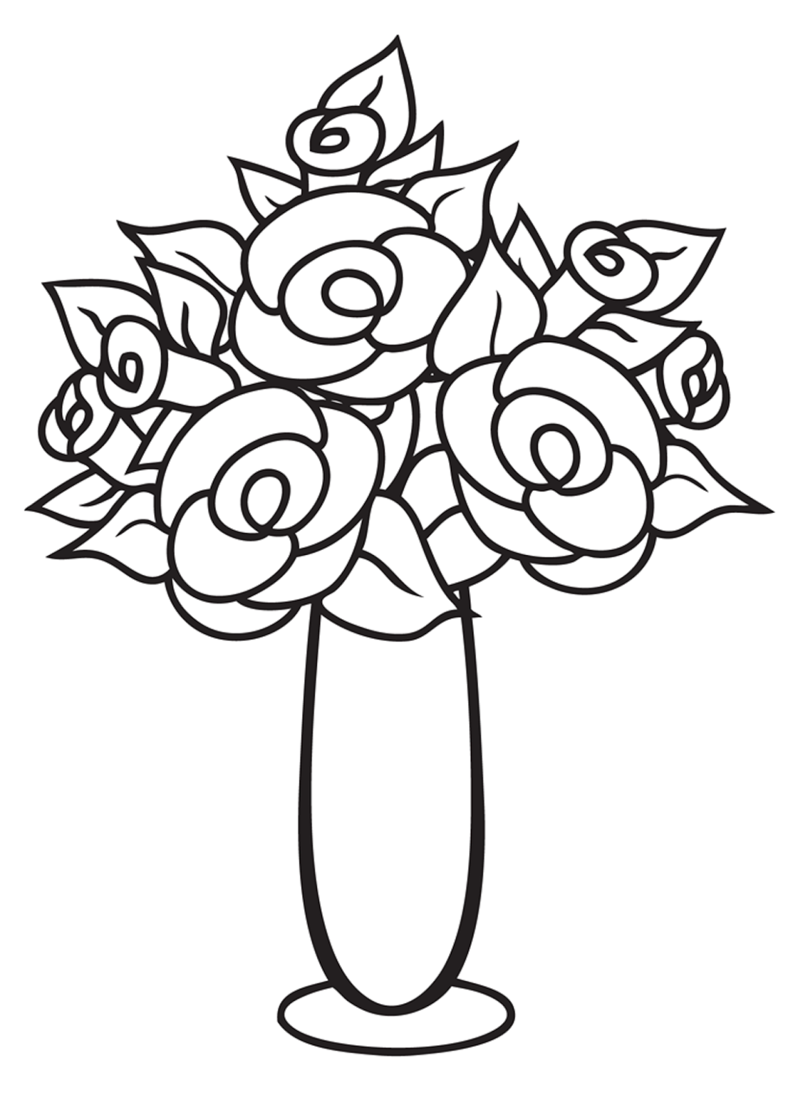 Draw A Vase Of Roses Easy Google Search Floral Drawing Flower Vase Drawing Flower Drawing