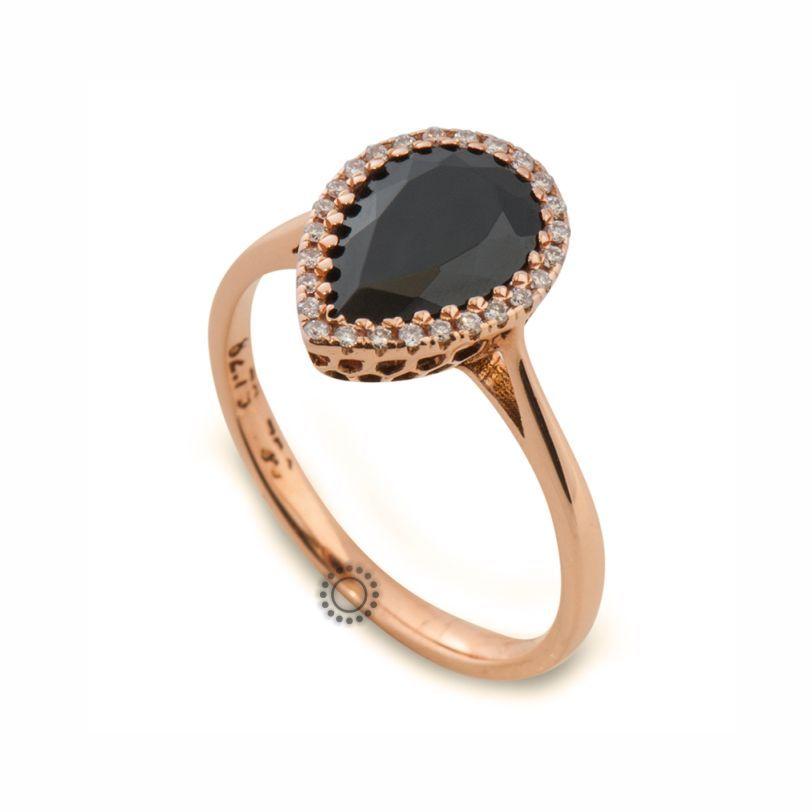 Μοντέρνο μονόπετρο δαχτυλίδι ροζέτα από ροζ χρυσό Κ18 με δάκρυ μαύρο  σπινέλιο  amp  διαμάντια  f685efcb6d6