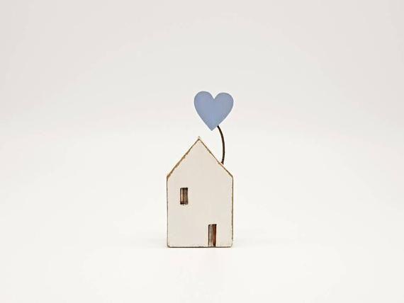Etsy listing at https://www.etsy.com/uk/listing/623211856/little-wooden-house-nautical-folk-art #littlewoodenhouse #cottage #heart #heartballoon #folkart #handmade #scandi #scandinavian #scandinavianhouse #etsy #giftideas #anniversarygift #newhomegift #housewarminggift #bspoque