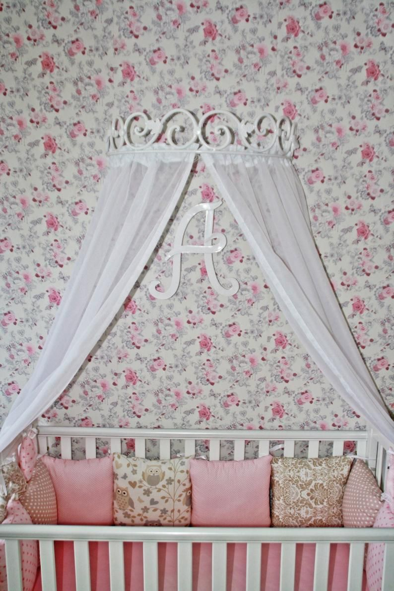 Bed Canopy Holder Crown Curtains Handmade Blacksmith Metall Wall Mount Corona Baby Cribs Children Princess Hardware Birthday Christmas Gift