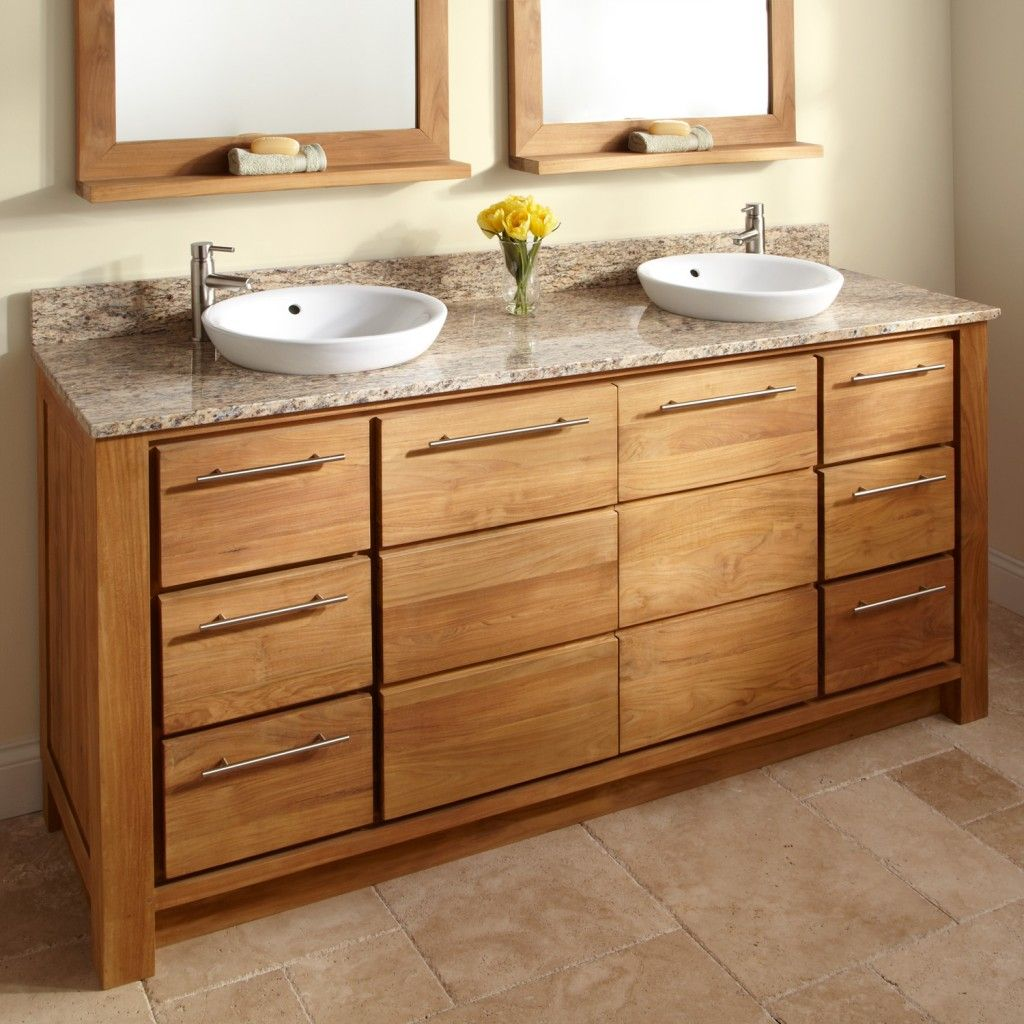 Double Vanity Tops For Bathrooms With Oak Tree Wood Cabinet And Round Overmount Vessel Sinks