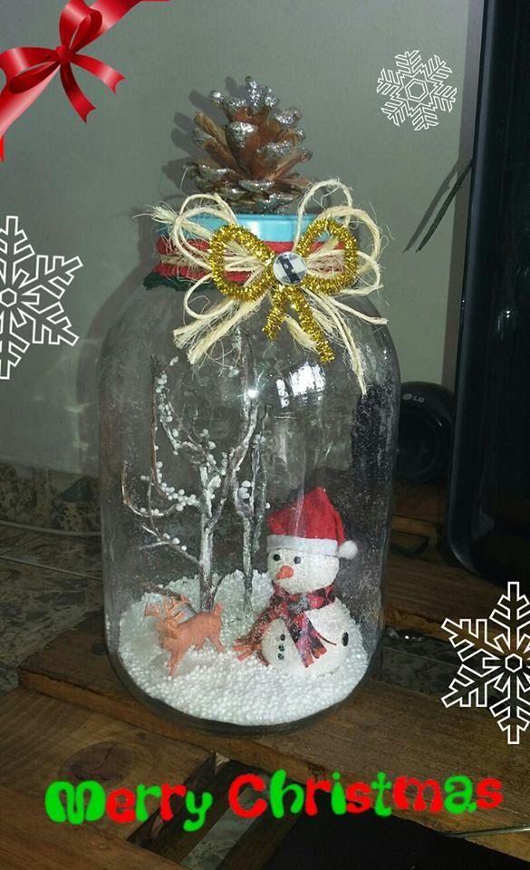 DIY Manualidad frasco navideño MANUALIDADES NAVIDAD Pinterest