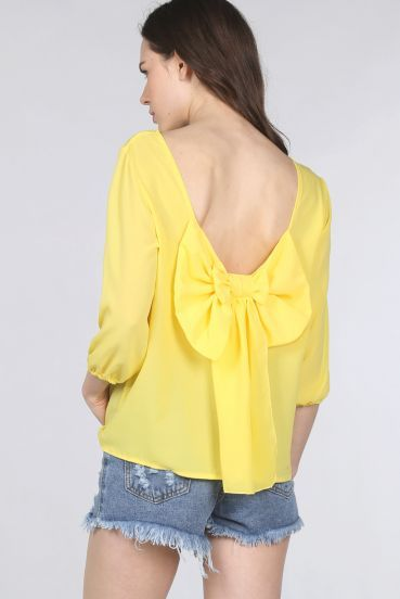 Yellow Long Sleeve Bowknow Backless Blouse pictures