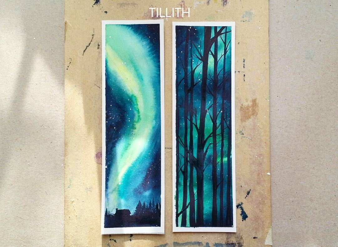Part 1 Of A Bookmark Set Watercolor Aurora By Tillith
