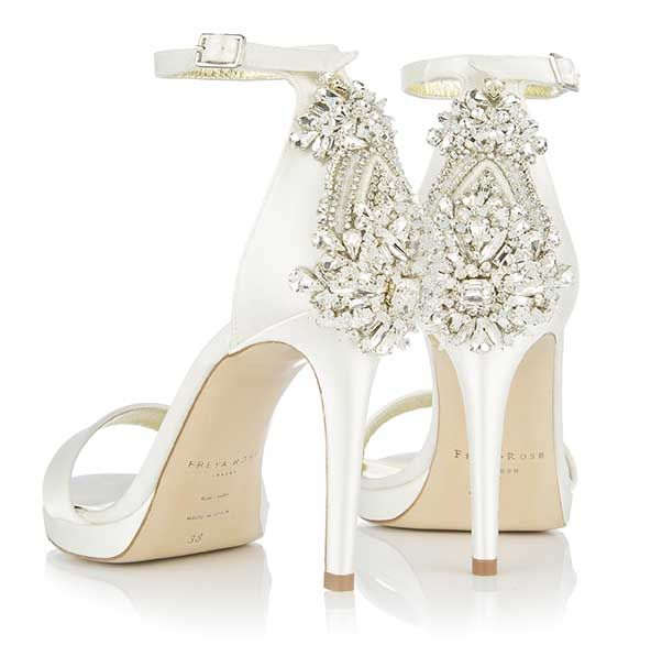 ef157cad1 These Freya Rose designer wedding shoes  Fefe Princess  are ivory satin  high heel sandals with crystal embellishment. A gorgeous and unique bridal  shoe.
