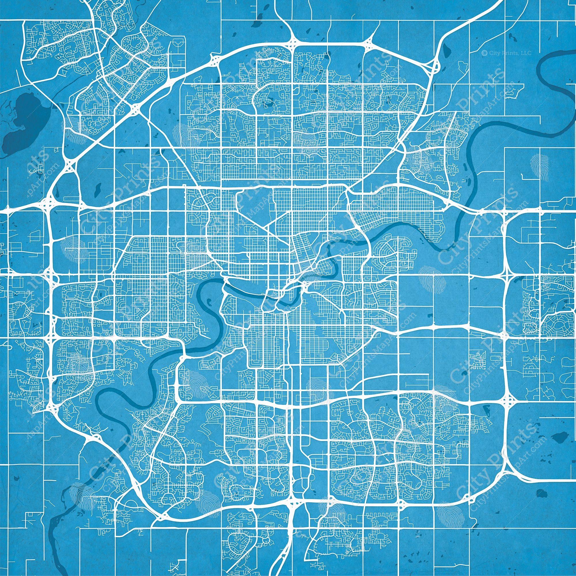 Edmonton canada map art city prints maps old new edmonton canada map art city prints gumiabroncs Images