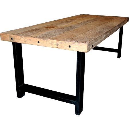 Industriele houten tafel met ijzeren onderstel blockdesign woon inspiratie pinterest - Tafel eetkamer industriele ...