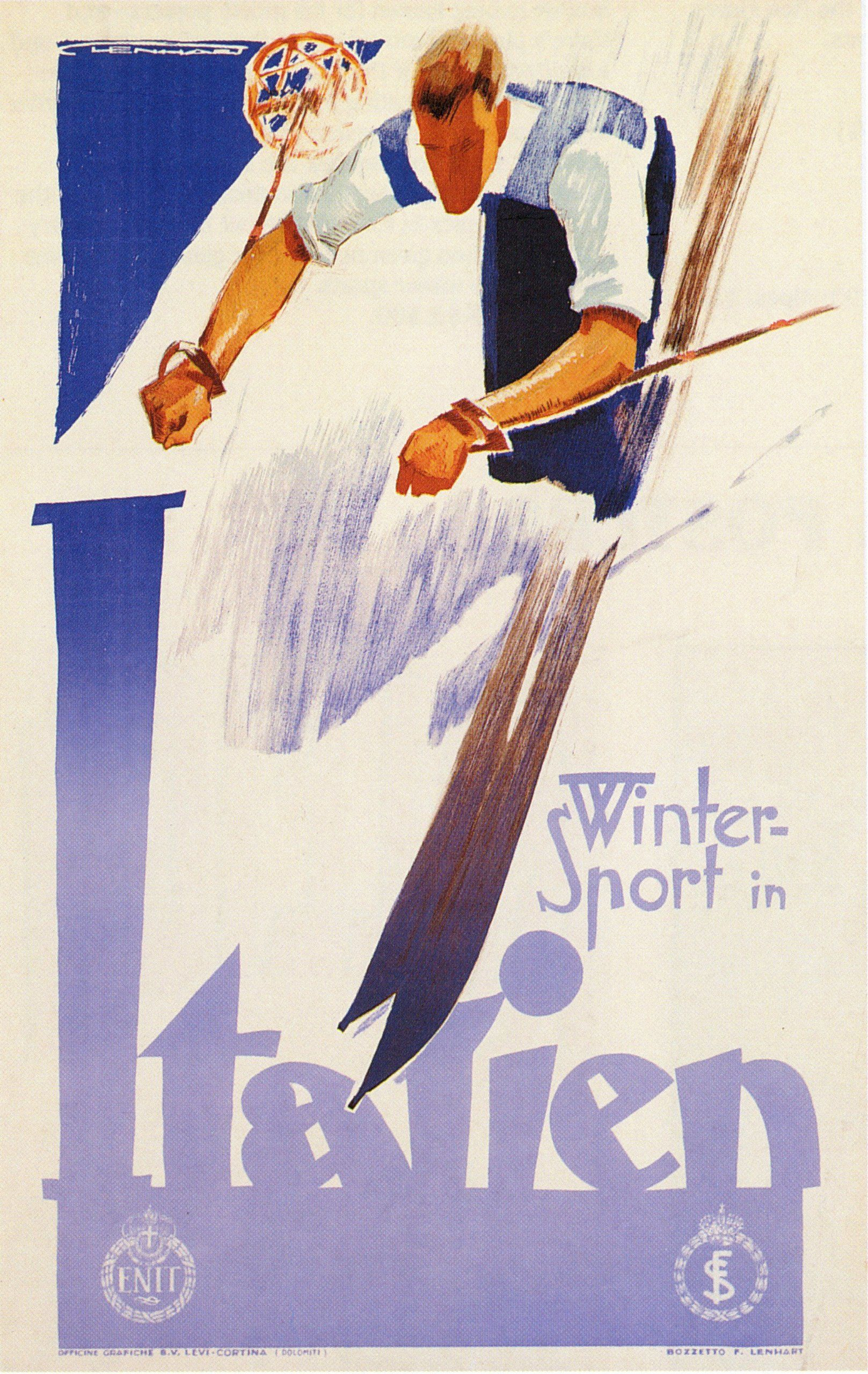 winter sports skiing in italy large vintage travel ski poster