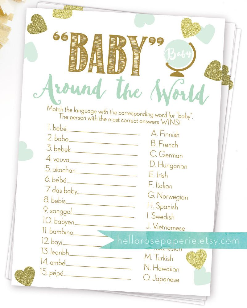 Baby Around The World Baby In Different Languages Mint And Etsy Boy Baby Shower Games Online Baby Shower Baby Shower Fun