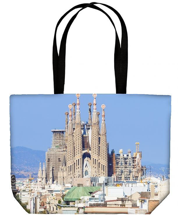 Canvas Tote Bag (other products available) - Skyline view of La Sagrada Familia, by Antoni Gaudi, UNESCO World Heritage Site, Barcelona, Catalonia (Catalunya), Spain, Europe - Image supplied by WorldInPrint - #MediaStorehouse - Tote bags are made from soft, durable, poly-poplin fabric and include a one inch (2.5cm) black strap for easy carrying