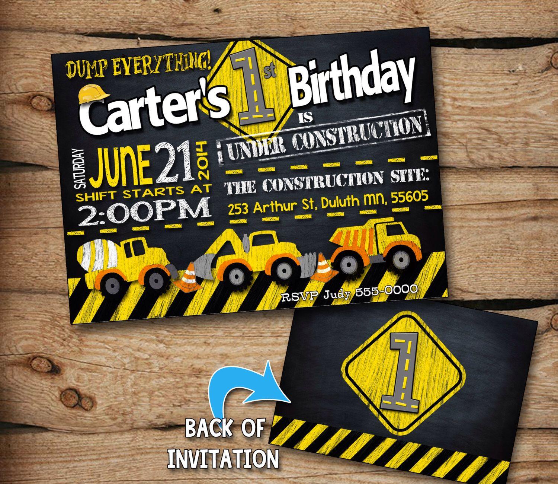 Construction birthday invitation, Construction birthday party, Construction party, Construction Invitabirthdtion, ay invitation, Printable by JcoInvitations on Etsy https://www.etsy.com/listing/199375502/construction-birthday-invitation