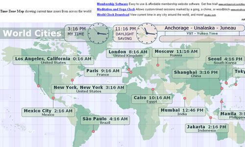 which shows the current local time in major cities across ...