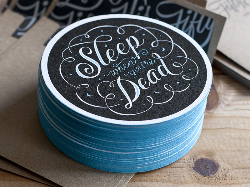 'Sleep When You're Dead' Coasters by Ross Moody