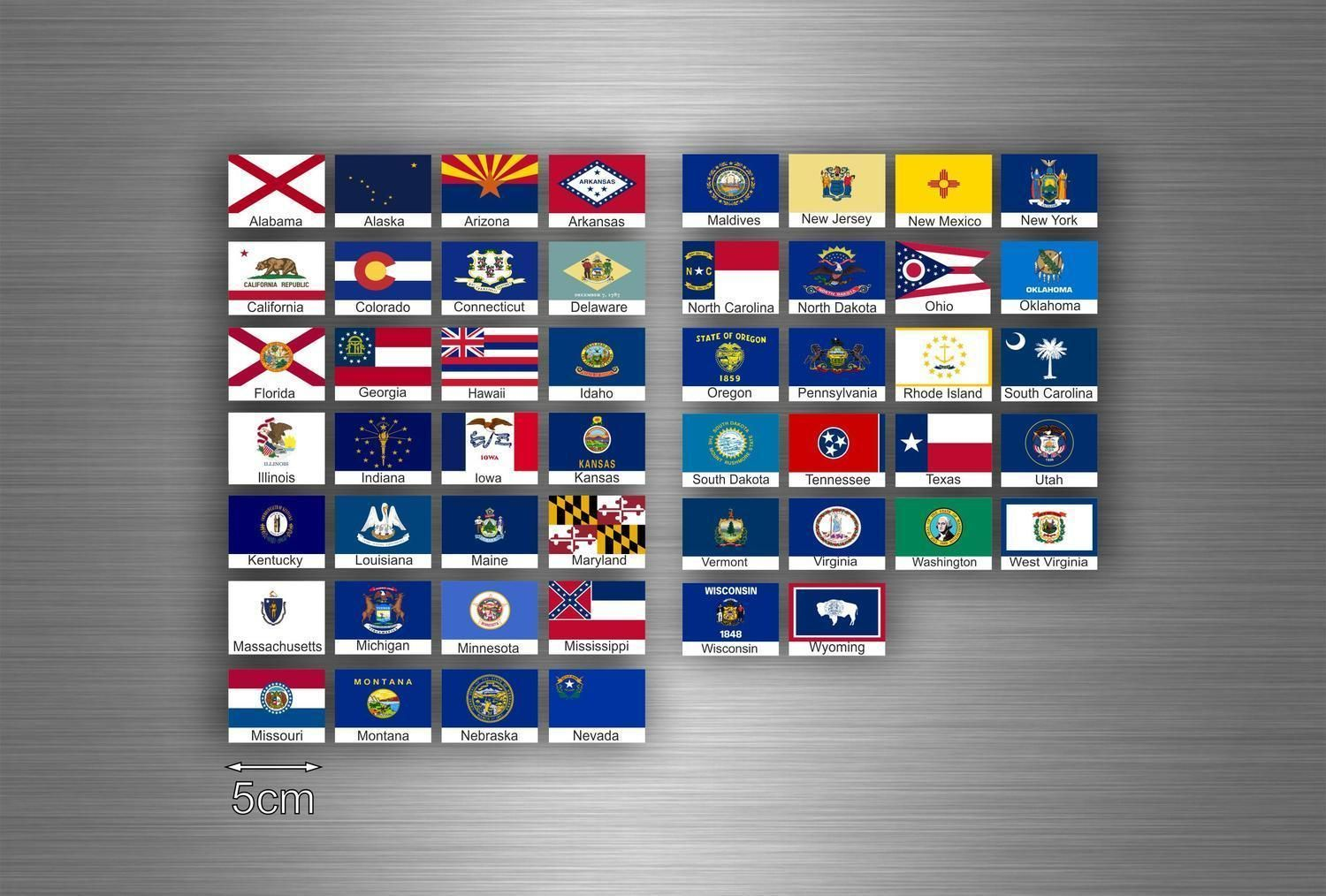 Set 50x sticker flag scrapbooking usa american states collection stamp small r1