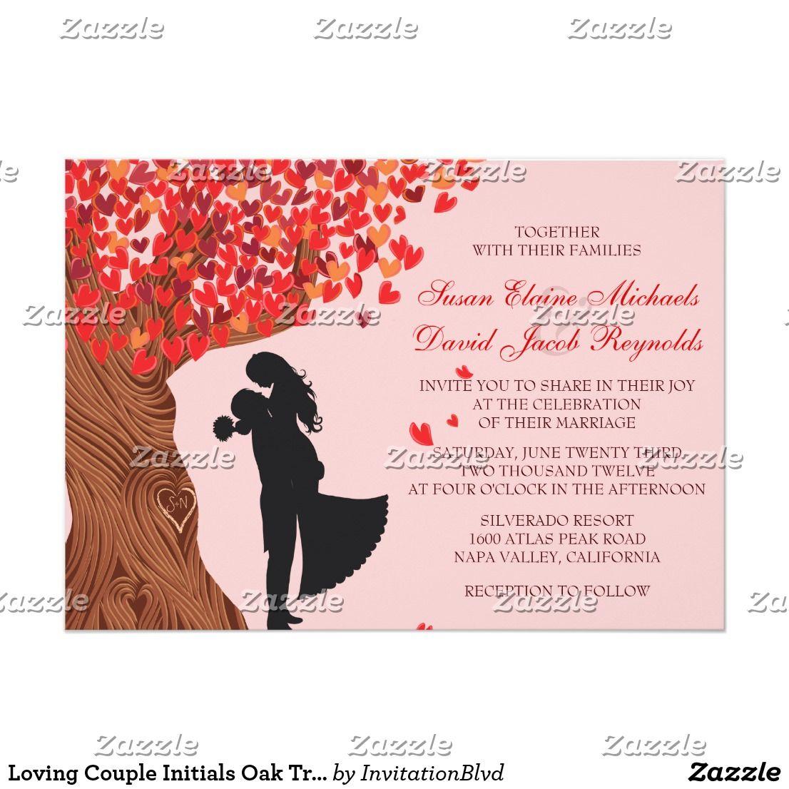 Loving Couple Initials Oak Tree Fall Wedding Invitation | Pinterest ...