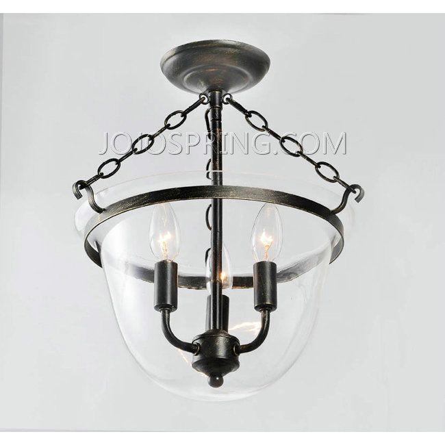 Antique Copper Finish Glass Lantern Flushmount Chandelier L835