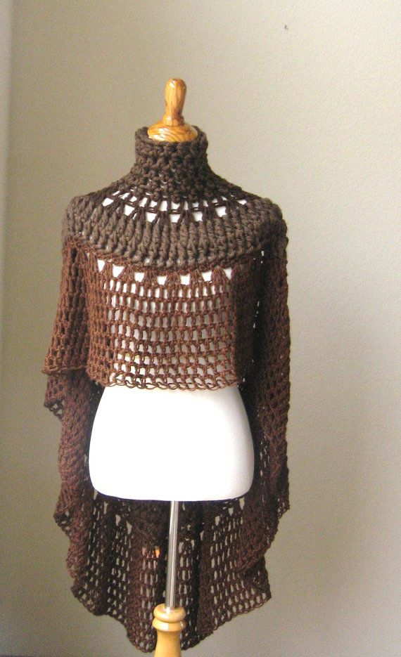 BROWN BOHO Chic PONCHO Crochet Bohemian Shawl Capelet Turtleneck // Knit Trendy // Chic Fashion // Boho Circle Vest Original Design