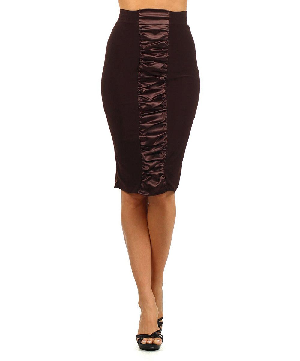 Look at this brown ruched pencil skirt on zulily today clothing