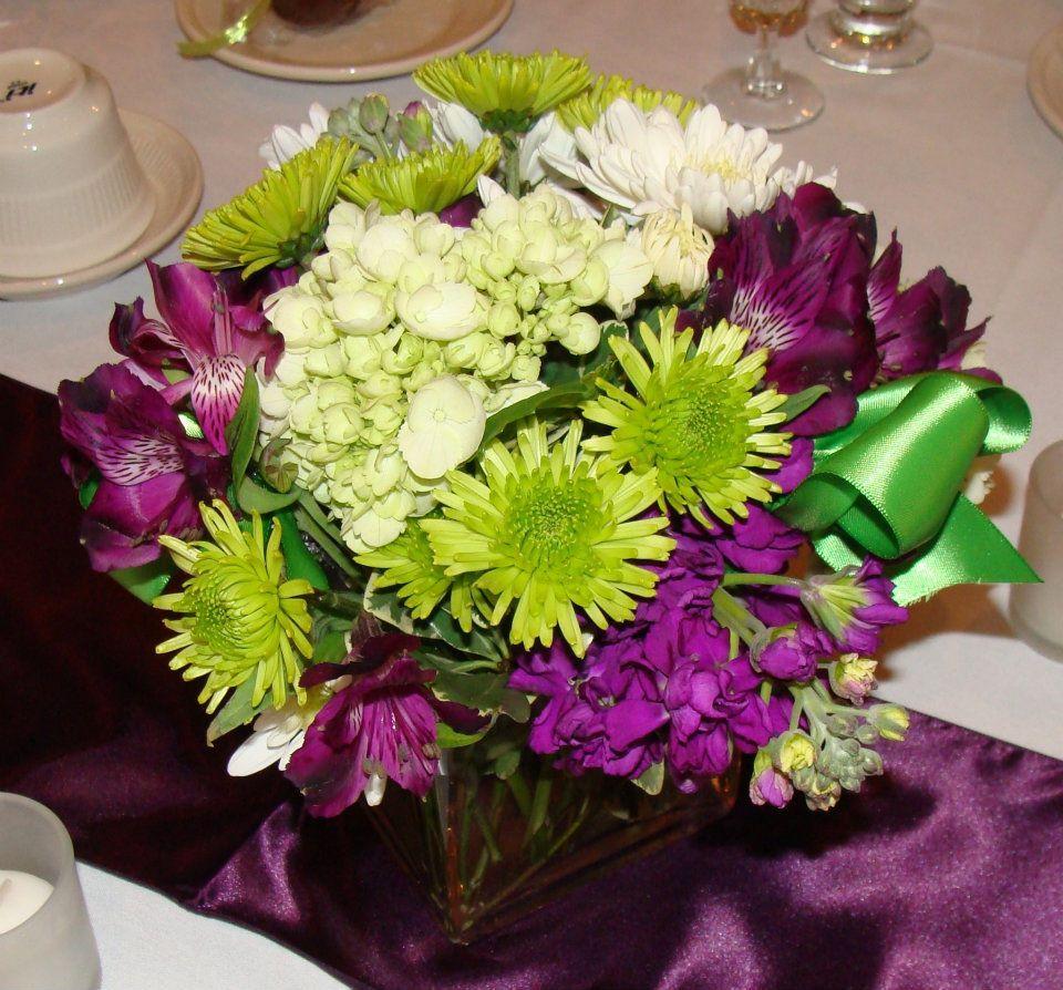 Purple And Lime Green Centerpiece Wedding Pinterest Green