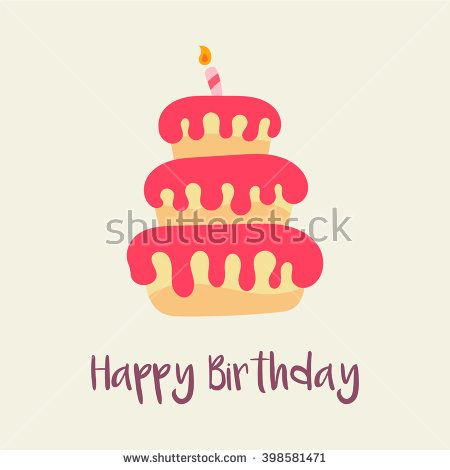 Birthday cake icon Birthday card template Cartoon flat design - birthday cake card template