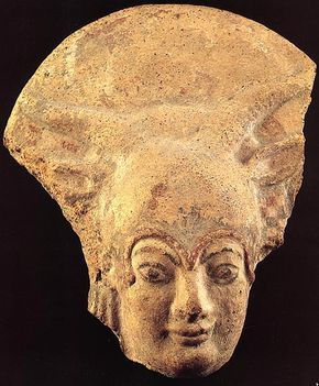 Terracotta antefix, representing the head of Juno Lanuvian. Early 5th century B.C.Rome, National Etruscan Museum of Villa Julia.