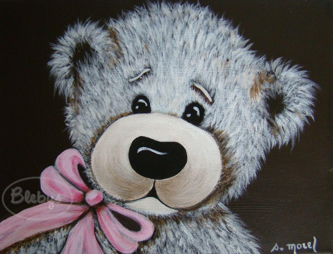 D coration pour enfant tableau peinture ours ruban rose acrylique mes peintures watercolor - Peinture pour chambre enfant ...