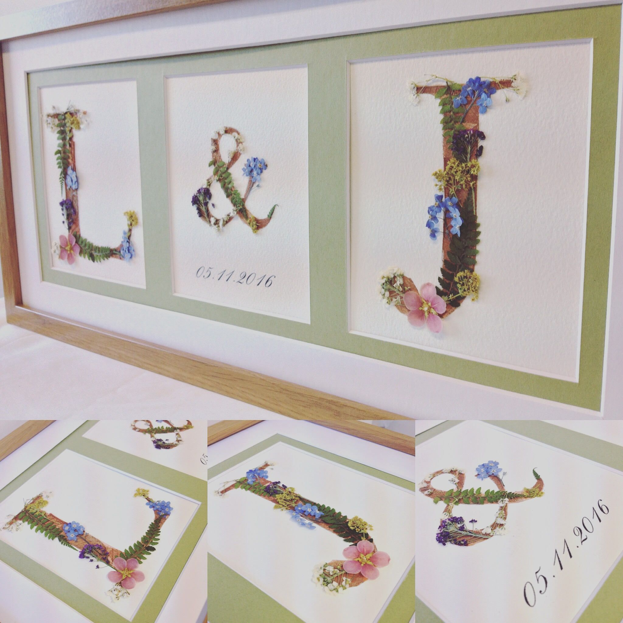 Custom Wedding Initials using real pressed flowers  Handmade letters ideal wedding anniversary gift for the couple