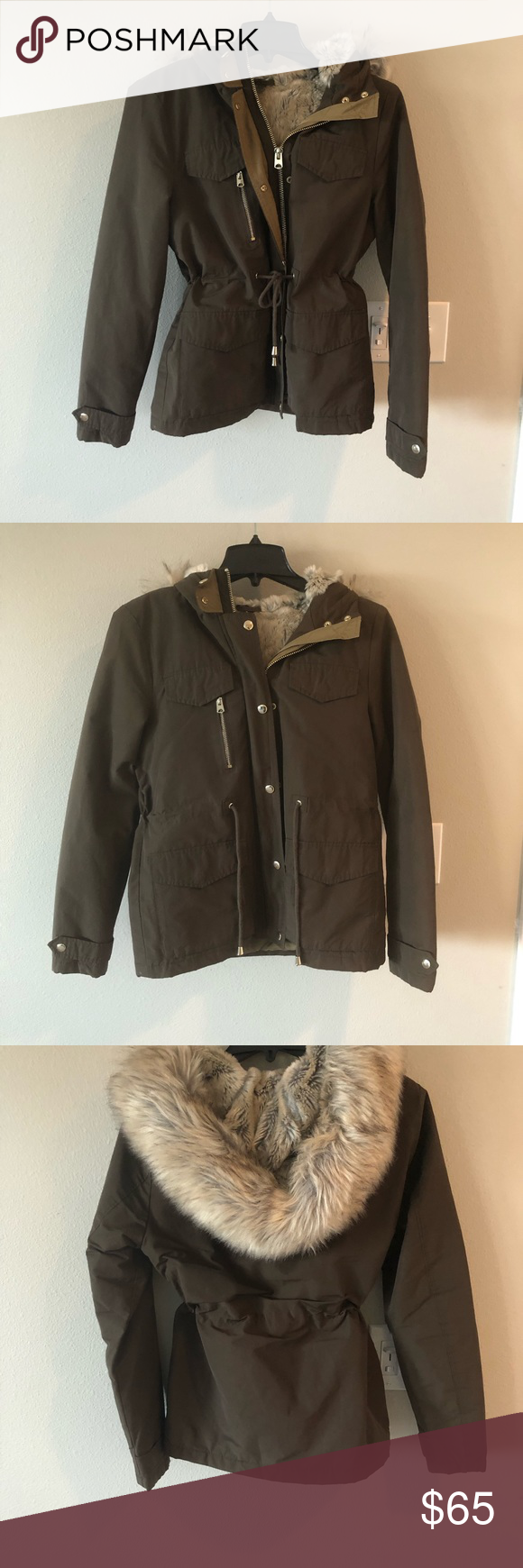 Top Shop brand fur lined jacket, size 6. Pristine