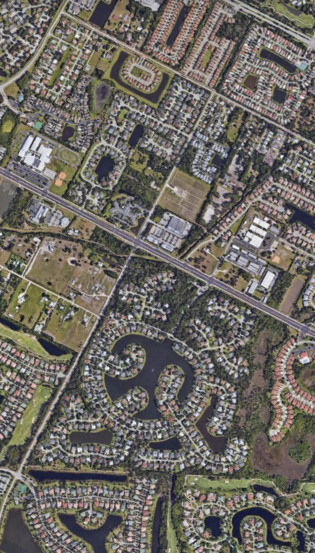 Satelital. From the Air. Palm City and Port St. Lucie,Florida