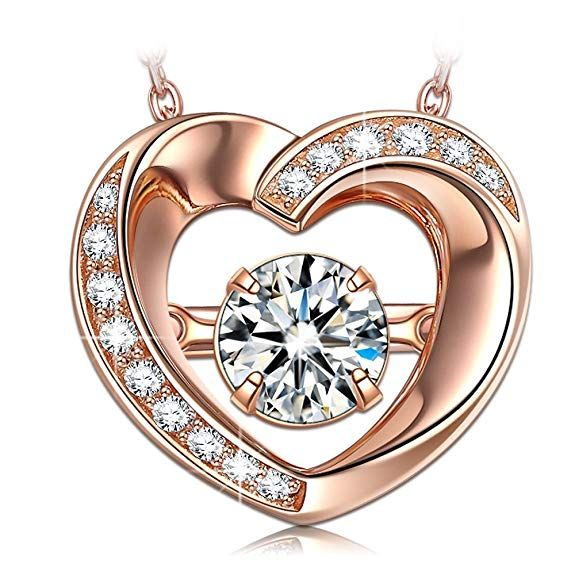 85ea54e2f3c DANCING HEART Dangle Heart Rose Gold Necklaces for Women 925 Sterling  Silver Necklaces for Girlfriend Wife Jewelry for Women for Her Birthday  Gift Pendant ...