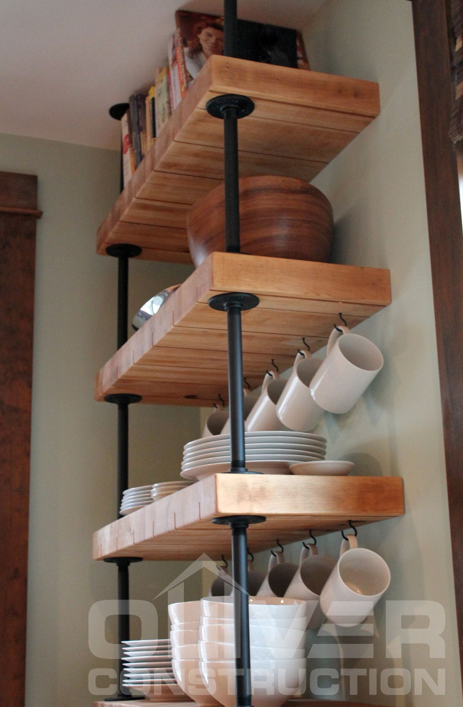 Reclaimed Butcher Block Shelves Suspended With Black Gas Pipe By Oliver Construction Llc Photo