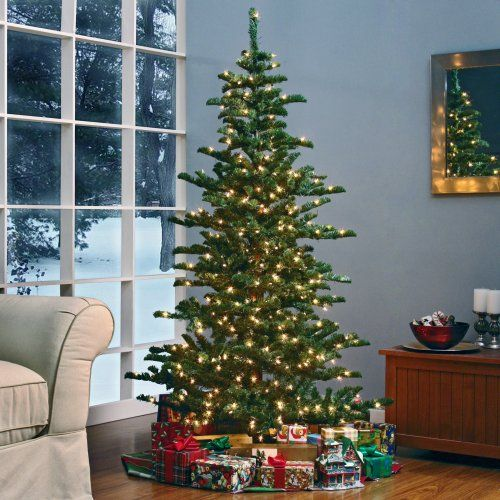 Find it at the Foundary - Woodland Slim Pre-lit Christmas Tree - 6