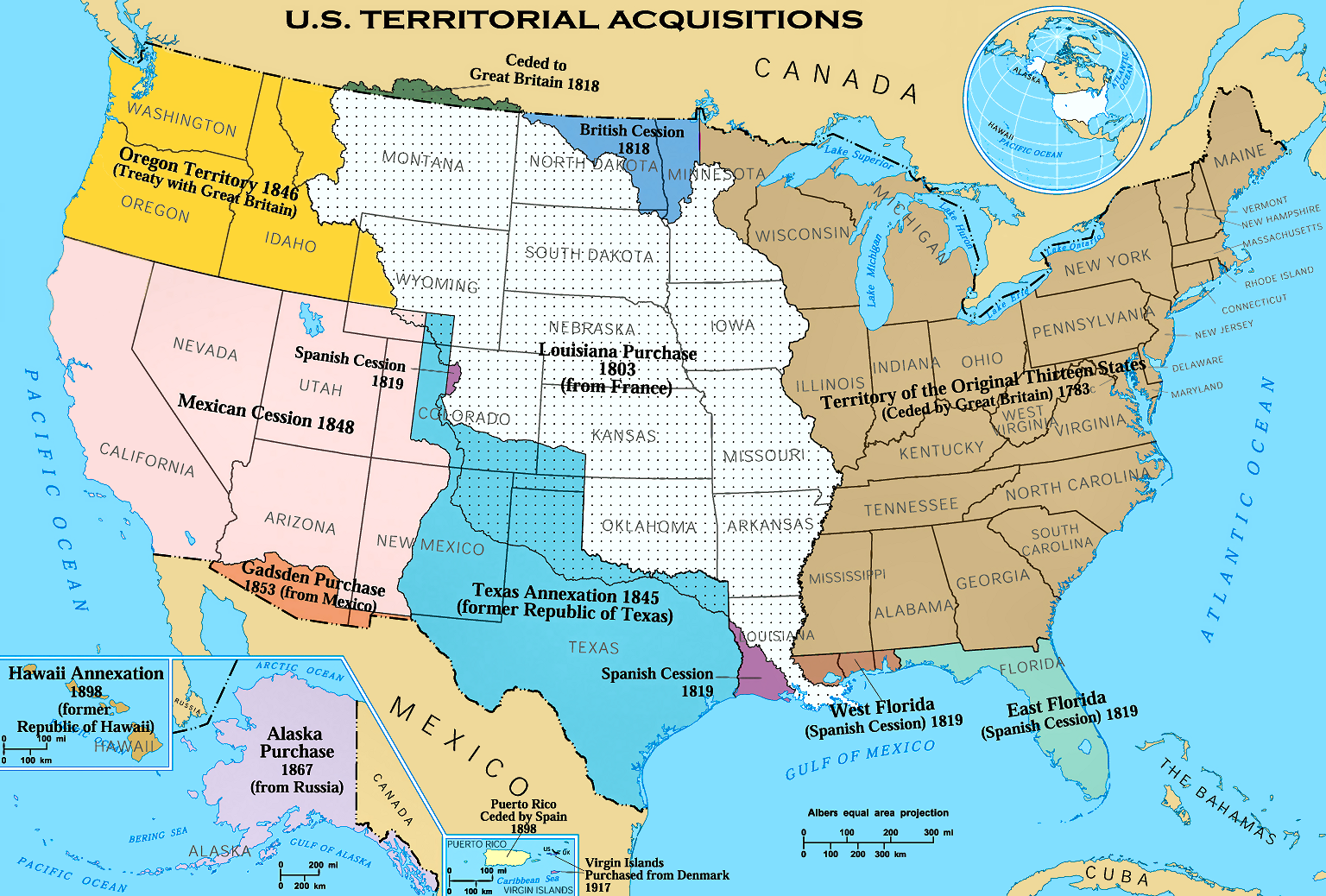 Map of how United States expanded from the original 13 colonies