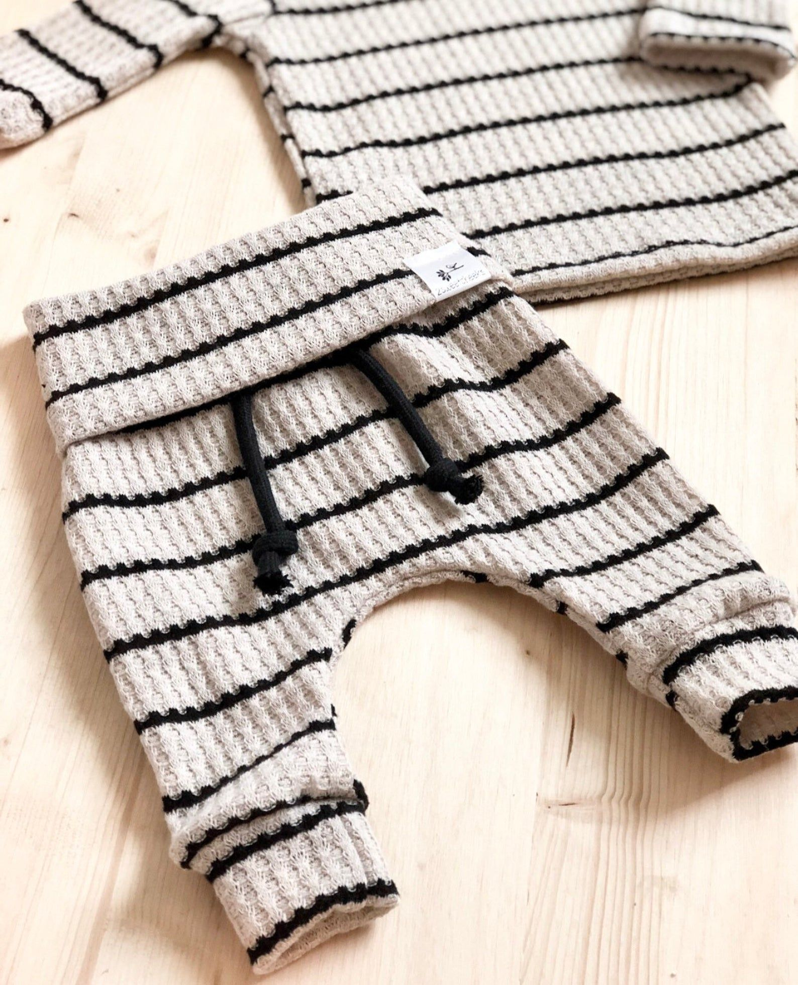 Photo of Waffle stripe outfit, gender neutral baby outfit, take home outfit, baby boy clothes.