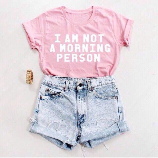 4e3907370c A Rosa Que Eu Não sou Uma Pessoa Da Manhã Camisa Tumblr T-shirt TEE mulheres  T-Shirt de Algodão de verão