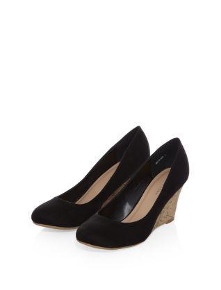 4eb254368e Black (Black) Black Suedette Cork Wedge Court Shoes | 307312001 | New Look