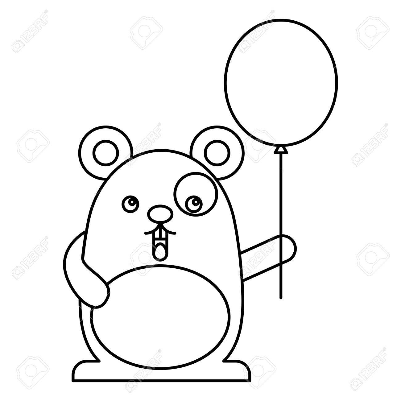 cute hamster with helium balloon kawaii character vector illustration design Illustration ,