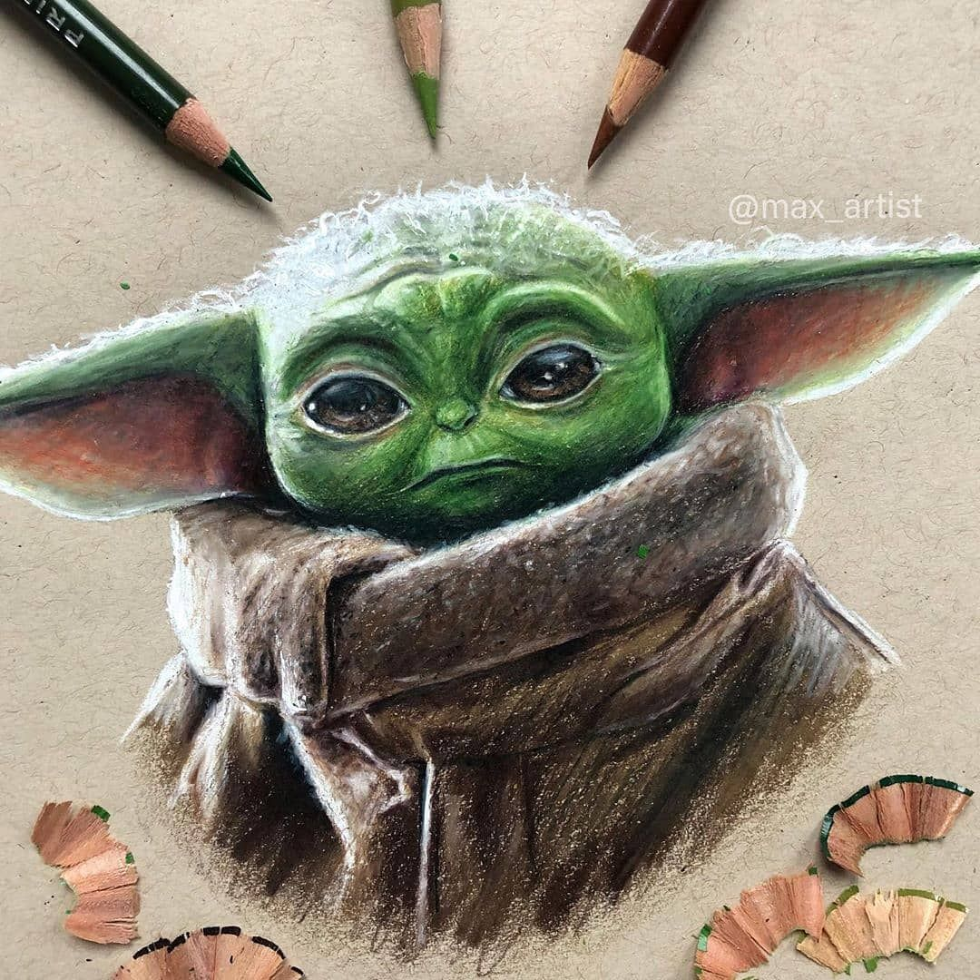 Baby Yoda Follow Me Realistic Abd For More Arts Dm For Paid Features Promotions Artist Yoda Drawing Yoda Art Realistic Drawings