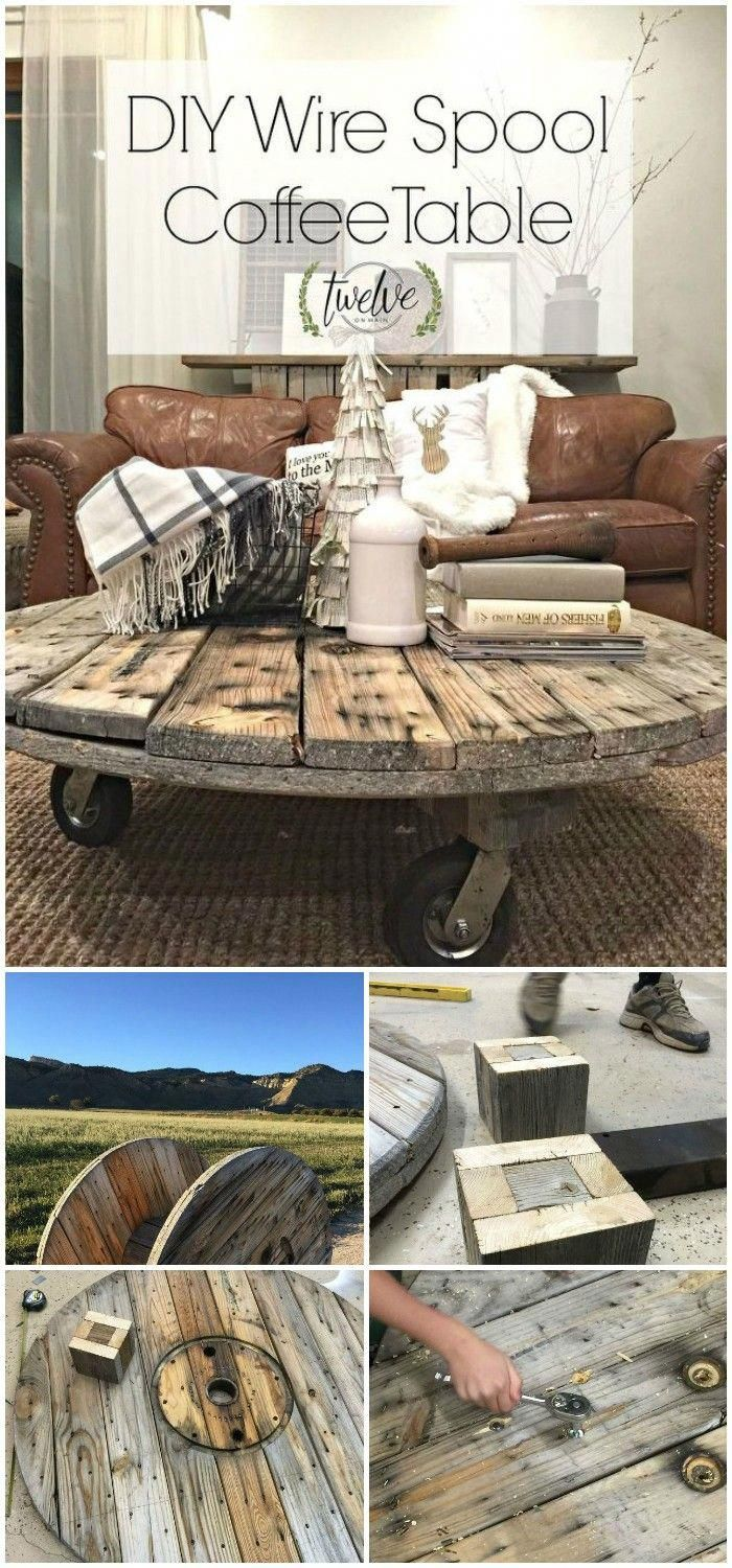DIY farmhouse coffee table ideas from cute cubes to industrial wooden spools. See the best designs and discover your favorites!DIY Wire Spool Coffee Table #diykitchencabinets #cablespooltables
