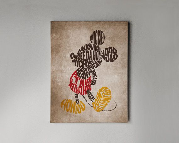 "Mickey Mouse Wall Art disney wall art canvas in vintage style mickey mouse ""never stop"