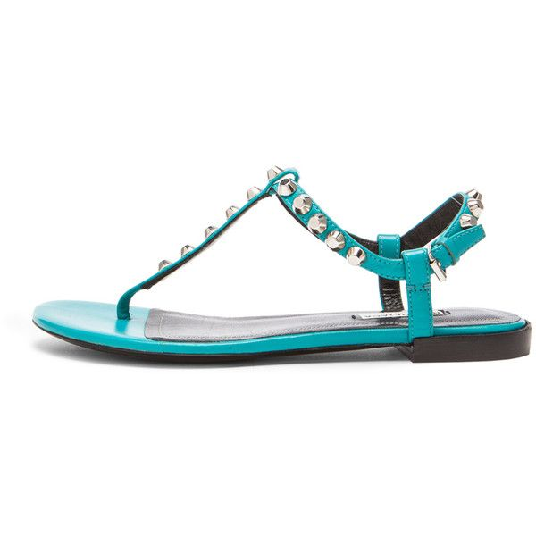 Balenciaga Giant Stud T Strap Leather Sandals ($585) ❤ liked on Polyvore featuring shoes, sandals, t-bar sandals, studded shoes, studded sandals, t strap sandals and real leather shoes