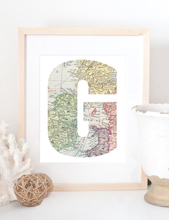 Baby Boy Room Themes Travel: Letter Initial Vintage Map Personalized Travel