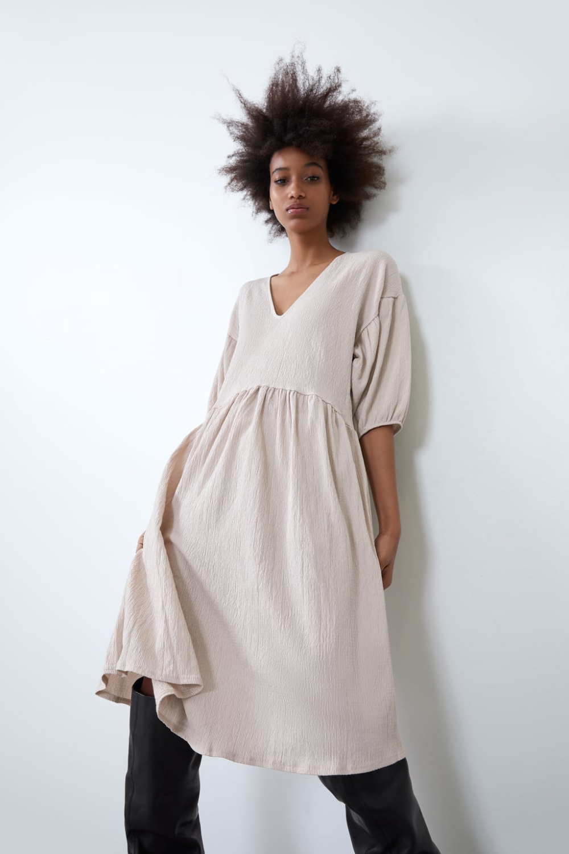 VOLUMINOUS TEXTURED WEAVE DRESS | ZARA United States in ...
