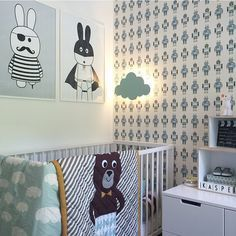 kindertapete robots von ferm living skandinavisch d nisch kinderzimmer. Black Bedroom Furniture Sets. Home Design Ideas