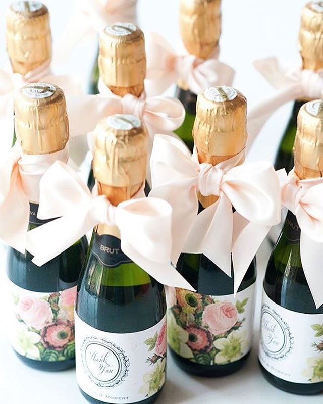 A Dressed Up Mini Champagne Bottle Can Be A Cute Wedding Favor That