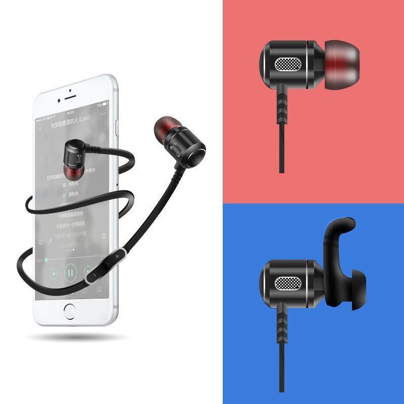 2016 New Brand Fashion Metal Bluetooth Earphone HIFI Stereo Wireless Sport Headset Handsfree Headphone with Mic for Mobile Phone