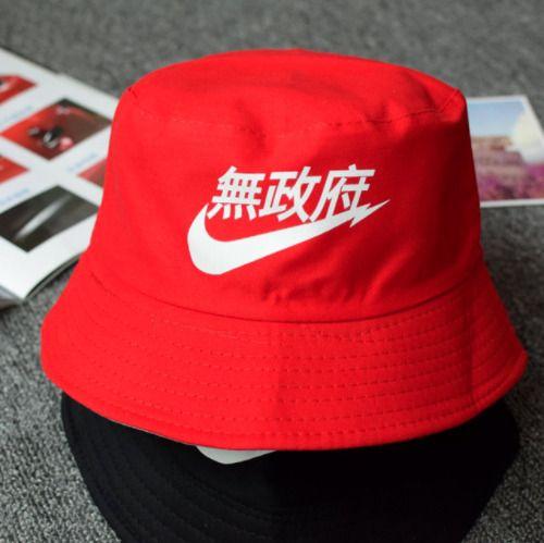 cefb6619c Nike Bucket Hat Cap Japanese Writing Linen Style Fashion Red ...