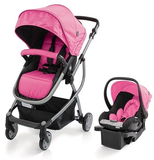 Double Buggy Pink Urbini Omni Baby Infant Toddler Stroller Car Seat Combo