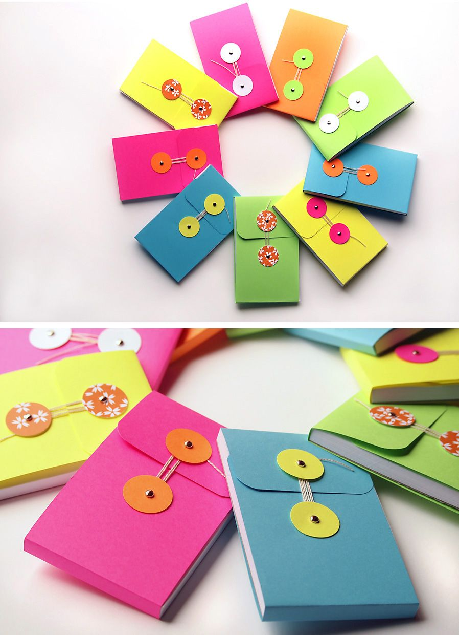 String-Tie Note Pads. Don't you just love the colors? Complete How-to.